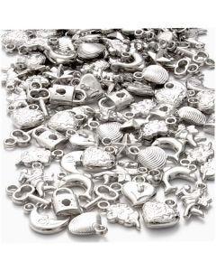 Sølvcharms, str. 15-20 mm, hulstr. 3 mm, 80 g/ 1 pk.