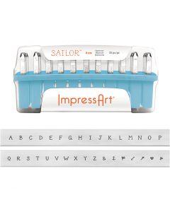Prægestempler, str. 4 mm, Skrifttype: Sailor, 33 stk./ 1 sæt