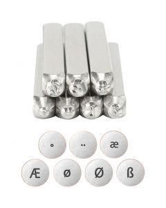 Prægestempler, Europæiske bogstaver, L: 65 mm, str. 3 mm, 7 stk./ 1 sæt