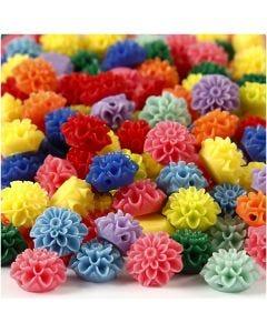 Blomsterperler, str. 15x8 mm, hulstr. 1,5 mm, ass. farver, 10x25 stk./ 1 pk., 300 ml