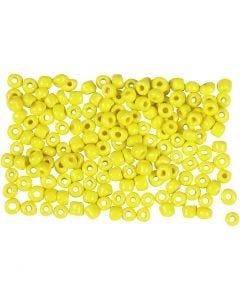 Rocaiperler, diam. 3 mm, str. 8/0 , hulstr. 0,6-1,0 mm, gul, 500 g/ 1 pk.