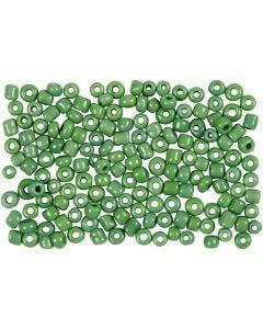 Rocaiperler, diam. 3 mm, str. 8/0 , hulstr. 0,6-1,0 mm, grøn, 500 g/ 1 pk.
