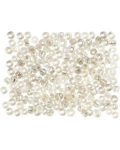 Rocaiperler, diam. 3 mm, str. 8/0 , hulstr. 0,6-1,0 mm, sølv, 500 g/ 1 pk.