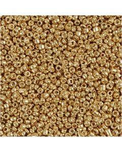 Rocaiperler, diam. 1,7 mm, str. 15/0 , hulstr. 0,5-0,8 mm, messing, 25 g/ 1 pk.