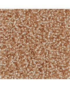 Rocaiperler, diam. 1,7 mm, str. 15/0 , hulstr. 0,5-0,8 mm, fersken, 25 g/ 1 pk.
