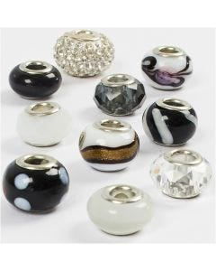 Glaslinks - harmoni, diam. 13-15 mm, hulstr. 4,5-5 mm, sort/hvid harmoni, 10 ass./ 1 pk.