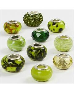 Glaslinks - harmoni, diam. 13-15 mm, hulstr. 4,5-5 mm, grøn glitter, 10 ass./ 1 pk.