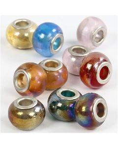 Glaslinks, diam. 13-15 mm, hulstr. 4,5-5 mm, 10 ass./ 1 pk.