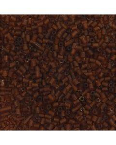 Rocaiperler, 2-cut, diam. 1,7 mm, str. 15/0 , hulstr. 0,5 mm, brun, 25 g/ 1 pk.