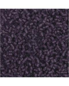Rocaiperler, 2-cut, diam. 1,7 mm, str. 15/0 , hulstr. 0,5 mm, frosted lilla, 500 g/ 1 ps.