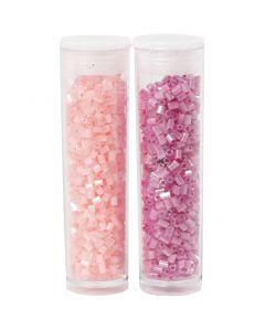 Rocaiperler, 2-cut, diam. 1,7 mm, str. 15/0 , hulstr. 0,5 mm, rosa, transparent rosa, 2x7 g/ 1 pk.