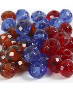 Glaslinks, str. 9x14 mm, hulstr. 4 mm, blå, brun, rød, 36 stk./ 1 pk.