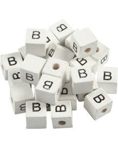 Bogstavperle, B, str. 8x8 mm, hulstr. 3 mm, hvid, 25 stk./ 1 pk.