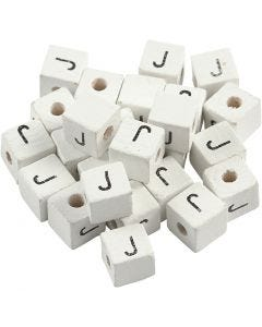 Bogstavperle, J, str. 8x8 mm, hulstr. 3 mm, hvid, 25 stk./ 1 pk.