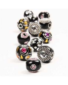 Kashmiri perler, diam. 20-17 mm, hulstr. 4,5 mm, sort, 12 ass./ 1 pk.