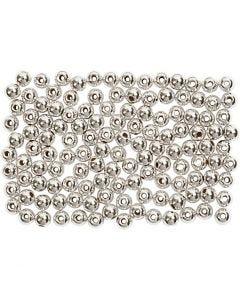 Voksperler, diam. 3 mm, hulstr. 0,7 mm, sølv, 150 stk./ 1 pk.