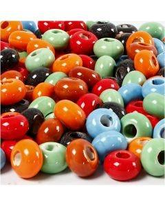 Keramik Link, diam. 15 mm, hulstr. 5,5 mm, Indhold kan variere, ass. farver, 300 stk./ 1 pk.