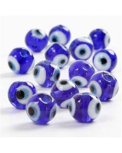 Øjeperler, diam. 10 mm, hulstr. 1,2 mm, blå, 37 cm/ 1 pk.