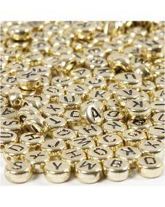 Bogstavperler, diam. 7 mm, hulstr. 1,2 mm, guld, 21 g/ 1 pk.