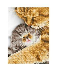 Diamond Dotz - billede på stof, Kat og killing, str. 35,5x45,7 cm, 1 pk.