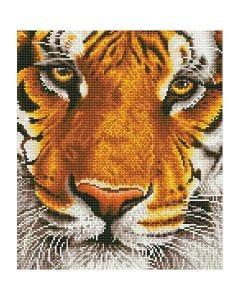 Diamond Dotz - billede på stof, Tiger, str. 36x42 cm, 1 pk.