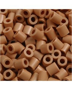 Rørperler, str. 5x5 mm, hulstr. 2,5 mm, medium, lys brun (32260), 6000 stk./ 1 pk.
