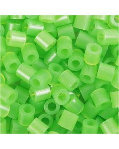 Rørperler, str. 5x5 mm, hulstr. 2,5 mm, medium, grøn neon (32237), 1100 stk./ 1 pk.