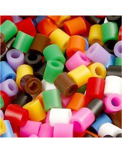 Rørperler, str. 5x5 mm, hulstr. 2,5 mm, medium, standardfarver, 5000 ass./ 1 pk.