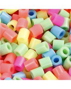 Rørperler, str. 5x5 mm, hulstr. 2,5 mm, medium, pastelfarver, 20000 ass./ 1 spand