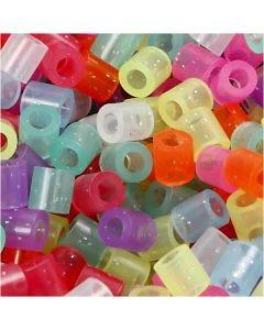 Rørperler, str. 5x5 mm, hulstr. 2,5 mm, medium, glitterfarver, 6000 ass./ 1 pk.
