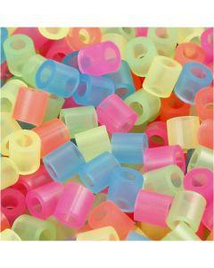 Rørperler, str. 5x5 mm, hulstr. 2,5 mm, medium, neonfarver, 6000 ass./ 1 pk.