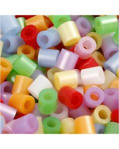 Rørperler, str. 5x5 mm, hulstr. 2,5 mm, medium, perlemorsfarver, 5000 ass./ 1 pk.