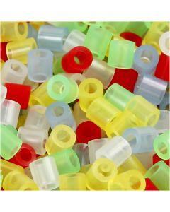 Rørperler, str. 5x5 mm, hulstr. 2,5 mm, medium, transparente farver, 20000 ass./ 1 spand