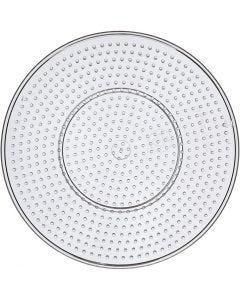 Perleplade, stor rund, diam. 15 cm, transparent, 1 stk.
