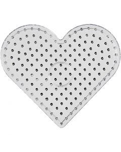 Perleplade, hjerte, JUMBO, transparent, 5 stk./ 1 pk.