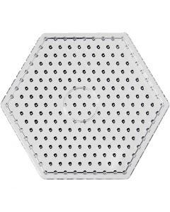 Perleplade, hexagon, JUMBO, transparent, 5 stk./ 1 pk.