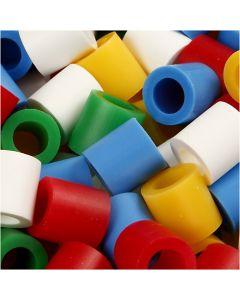 Rørperler, str. 10x10 mm, hulstr. 5,5 mm, JUMBO, standardfarver, 3200 ass./ 1 pk.