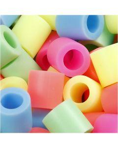 Rørperler, str. 10x10 mm, hulstr. 5,5 mm, JUMBO, pastelfarver, 2450 ass./ 1 pk.