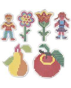 Perleplader, 2 blomster, pige, dreng, æble og pære, str. 8,5x14-14x16 cm, 6 stk./ 1 pk.