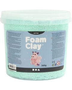 Foam Clay®, glitter, lys grøn, 560 g/ 1 spand