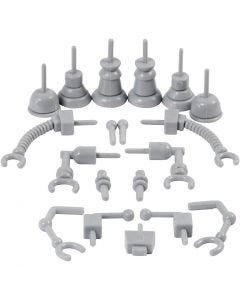 Robotdele, str. 0,5-6 cm, grå, 19 stk./ 1 pk.