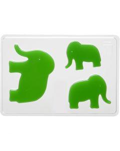 Støbeform, elefant, H: 6+8+10 cm, str. 14,9x22 cm, 1 stk.