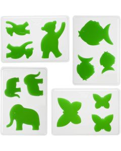 Støbeforme, dyr, H: 6+8+10 cm, str. 14,9x22 cm, 4 stk./ 1 pk.
