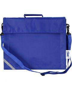 Skoletaske, str. 36x31 cm, blå, 1 stk.