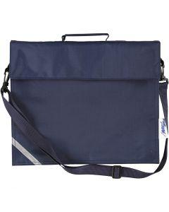 Skoletaske, str. 36x31 cm, mørk blå, 1 stk.