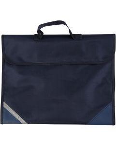 Skoletaske, str. 36x29 cm, mørk blå, 1 stk.