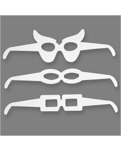 Briller, H: 4,5-10 cm, L: 32 cm, 230 g, hvid, 16 stk./ 1 pk.