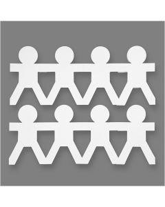 Drenge på række, H: 12 cm, L: 45 cm, 230 g, hvid, 16 stk./ 1 pk.
