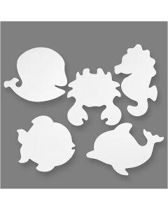 Havets dyr, H: 18,5-26 cm, B: 15-29 cm, 230 g, hvid, 16 stk./ 1 pk.