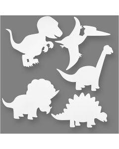 Dinosaurer, H: 15-22 cm, B: 24-25 cm, 230 g, hvid, 16 stk./ 1 pk.